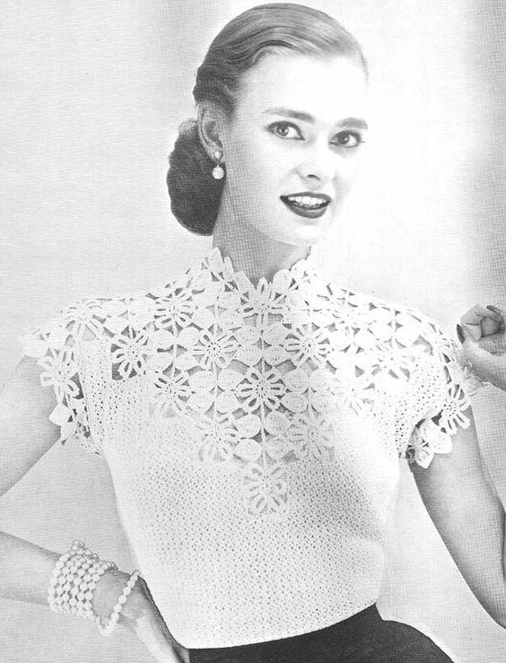 1955FlowerandLeafYokeBlouse