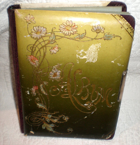 Small Antique Celluloid Photo Album