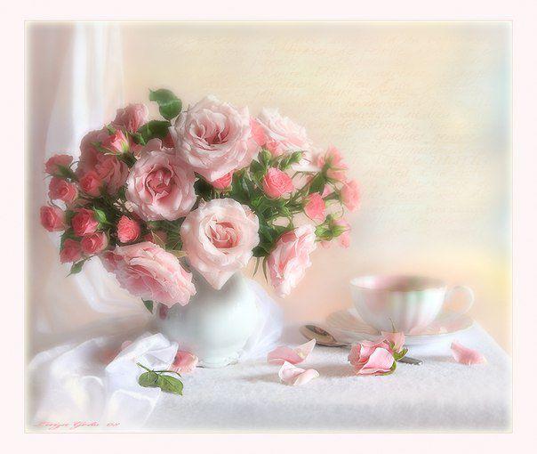 Открытки поздравления Доброго, нежного утречка. Букет розовых роз и чашечка открытка фото картинка рисунок скачать бесплатно С д