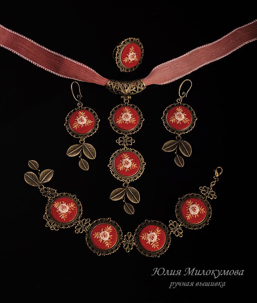 вышитые украшения, ручная вышивка, рококо, вышитое бижу, комплект украшений, кольцо, колье, браслет, серьги, анонс