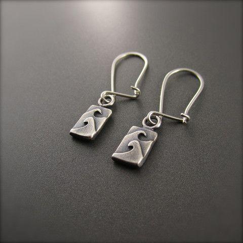 Tiny Tidal Wave Earrings - Darkened Silver: