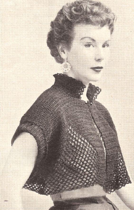 Vintage Crochet Bolero Shortie Jacket Cape Pattern