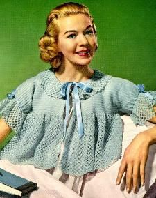 Crochet Bed Jacket pattern from 1956 – would make a really cute sweater too!   Grandmother's Pattern Book
