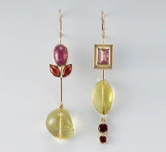 Janis Kerman  - earrings - 18KT, TOURMALINE, GARNET, LEMON CITRINE: