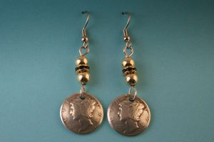 Mercury Dime Dangle with Crystal