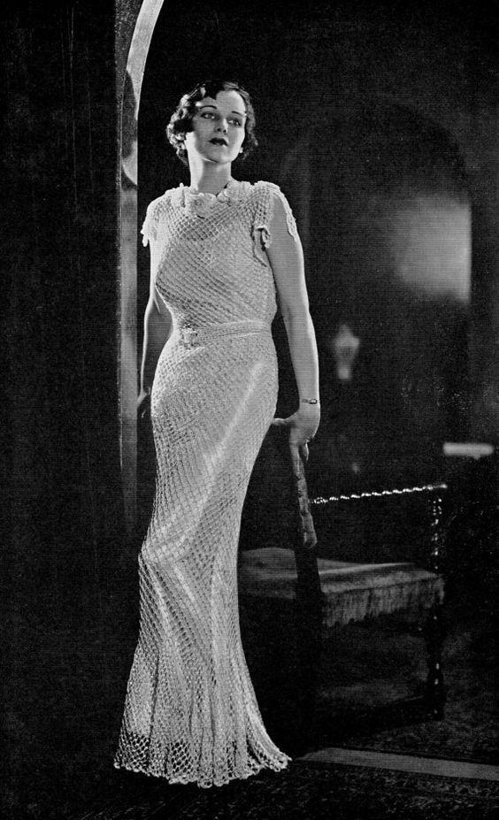 PDF Pattern Vintage 30's Crochet Crocheted Wedding GOWN Dress Pattern