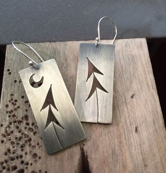 Sterling Silver Two Pines & Crescent Moon Tree Art earrings: