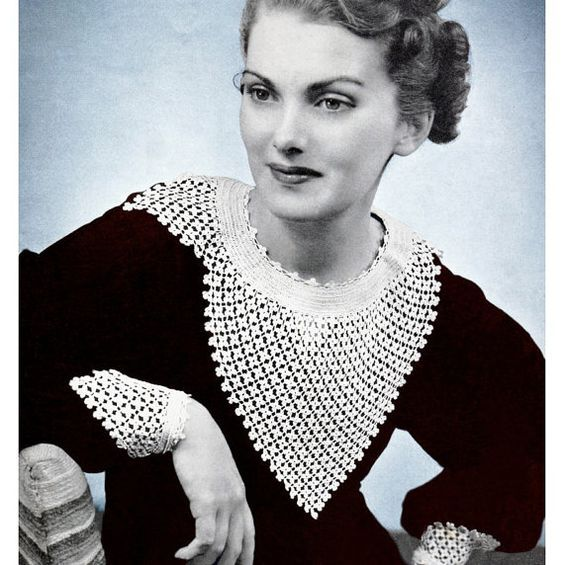 Vintage Crochet Pattern 1930s Lacy Collar and Cuffs Digital Download PDF