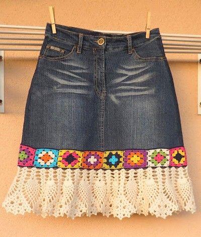 denim crochet skirt (3):