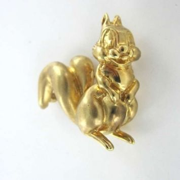 14kt Yellow Gold Pin Brooch Squirel Chip And Dale Vintage State Jewelry $990