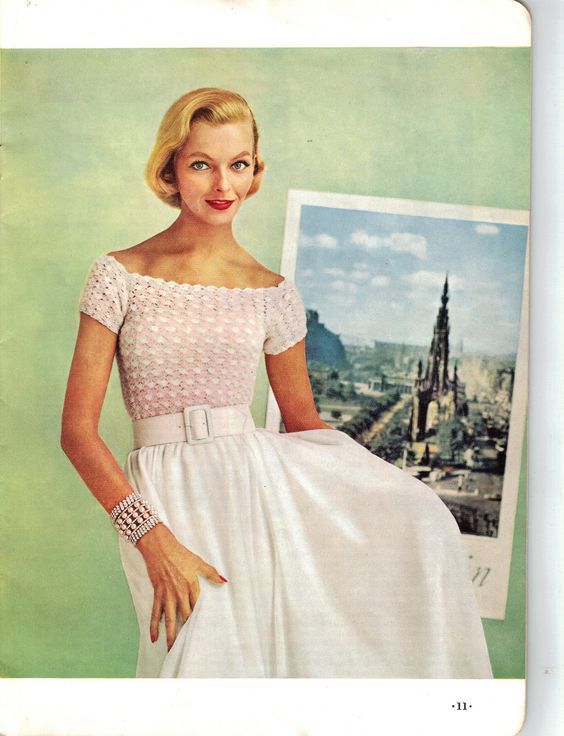 1950s Lace Off the Shoulder Evening Blouse Top - Crochet pattern PDF 3391