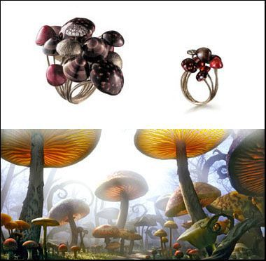 Mushroom Forest: The Forest of mushrooms through which Alice wanders in the film inspired the creation of enameled gold rings. The texture of real toadstools is seen not only on the outside of the ring but on the inside also. Some are covered with diamonds.