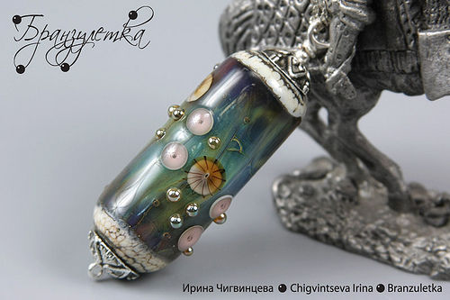 "Pendant ""Cold River"". Jewelry lampwork"