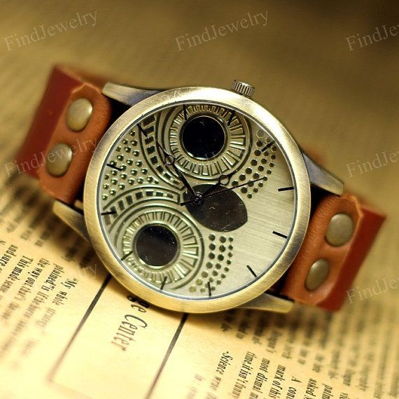 Owl Watch Women Vintage watches Genuine Leather by FindJewelry