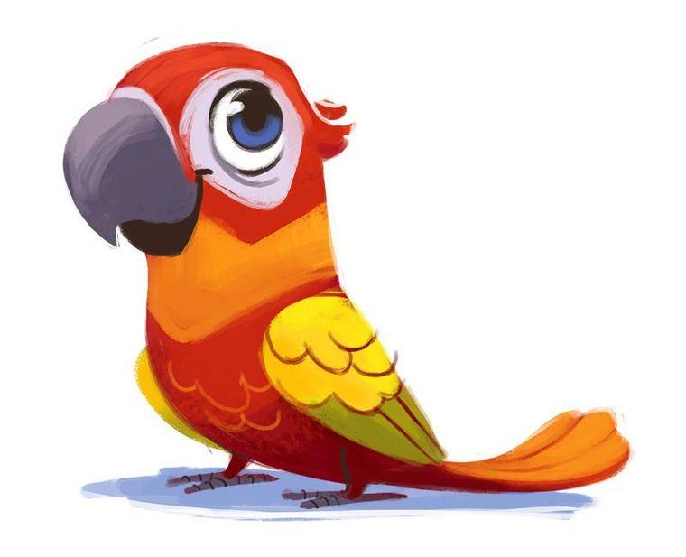 Открытка, попугай картинка для детей