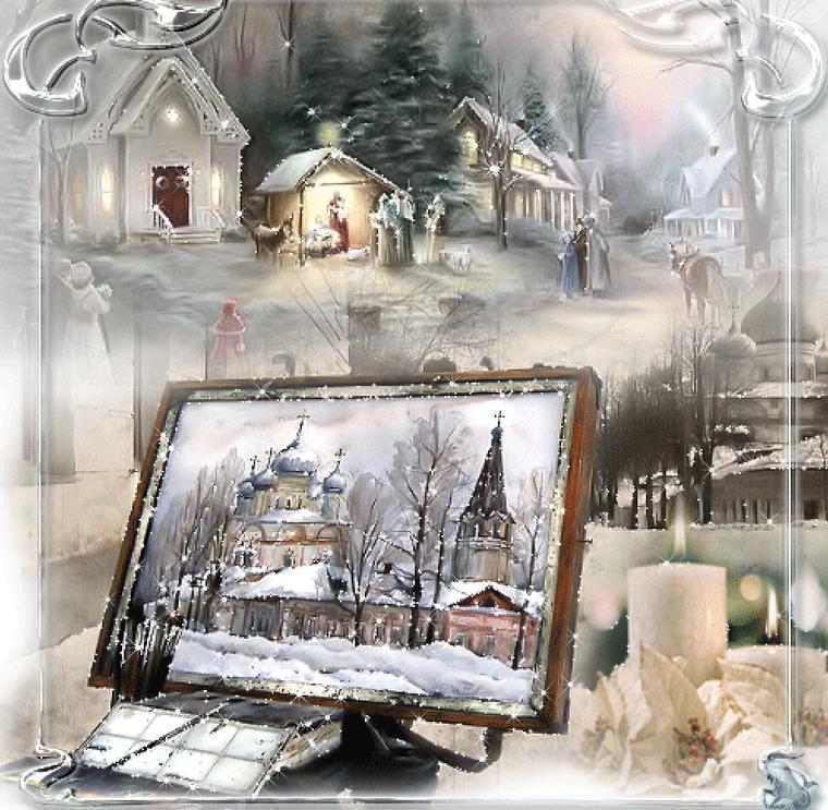 Новогодние, открытки картины анимационные