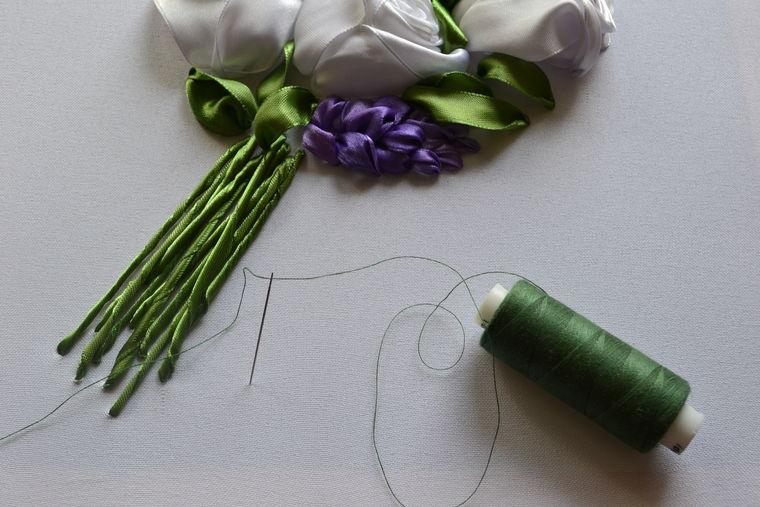 """手工丝带绣教程:""""一束白玫瑰"""" - maomao - 我随心动"""
