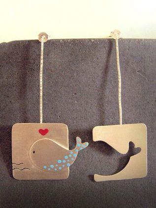 Unique Handmade Silver Earrings - Whale::