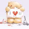 Медведь держит надпись i love you картинки смайлики