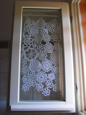 sweet little crocheted doily curtains