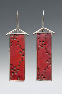 Sterling Silver and Red Copper Earrings w/Flowers & Vines by www.sarahboodesigns: