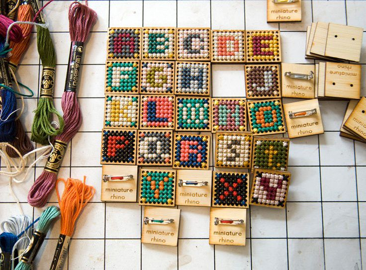 make and wear: cross stitch wooden pins