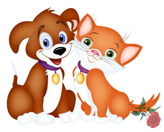 Котёнок и щенок, Картинки клипарт