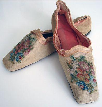 Maria Niforos - Fine Antique Lace, Linens & Textiles : Circa 1800's, Rare Canvas Ladies Shoes w/ Needlepoint Flowers