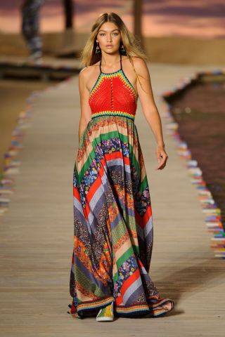 Gigi Hadid walks the runway for Tommy Hilfiger Spring 2016. See all the best runway looks from New York Fashion Week here::
