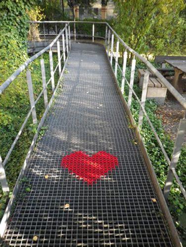 Cross-stitched Street Art Heart
