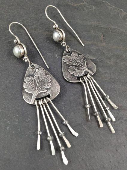 OOAK Fine Silver metal clay dangle earrings:
