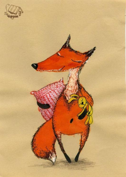Открытка хитрый лис, паеток для детей