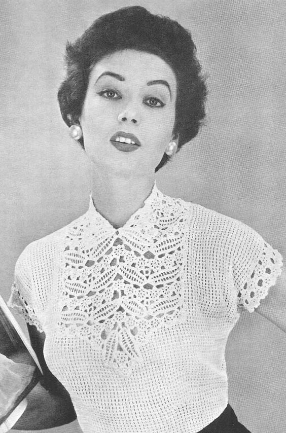 1955 Leaf and Flower Yoke Blouse Crochet Pattern