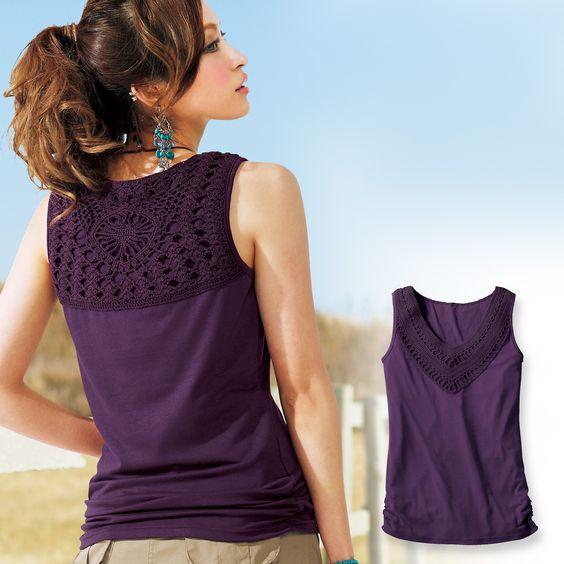 crochet & fabric top: