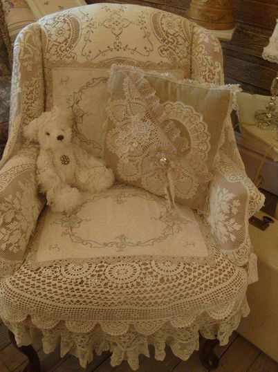 chair cover with lace tablecloth and vintage textiles